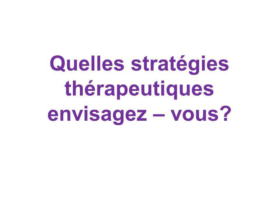 Quelles stratégies thérapeutiques envisagez – vous?