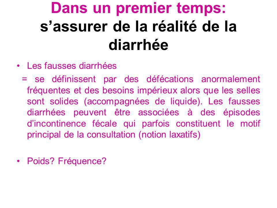 Dans un premier temps: sassurer de la réalité de la diarrhée Les fausses diarrhées = se définissent par des défécations anormalement fréquentes et des
