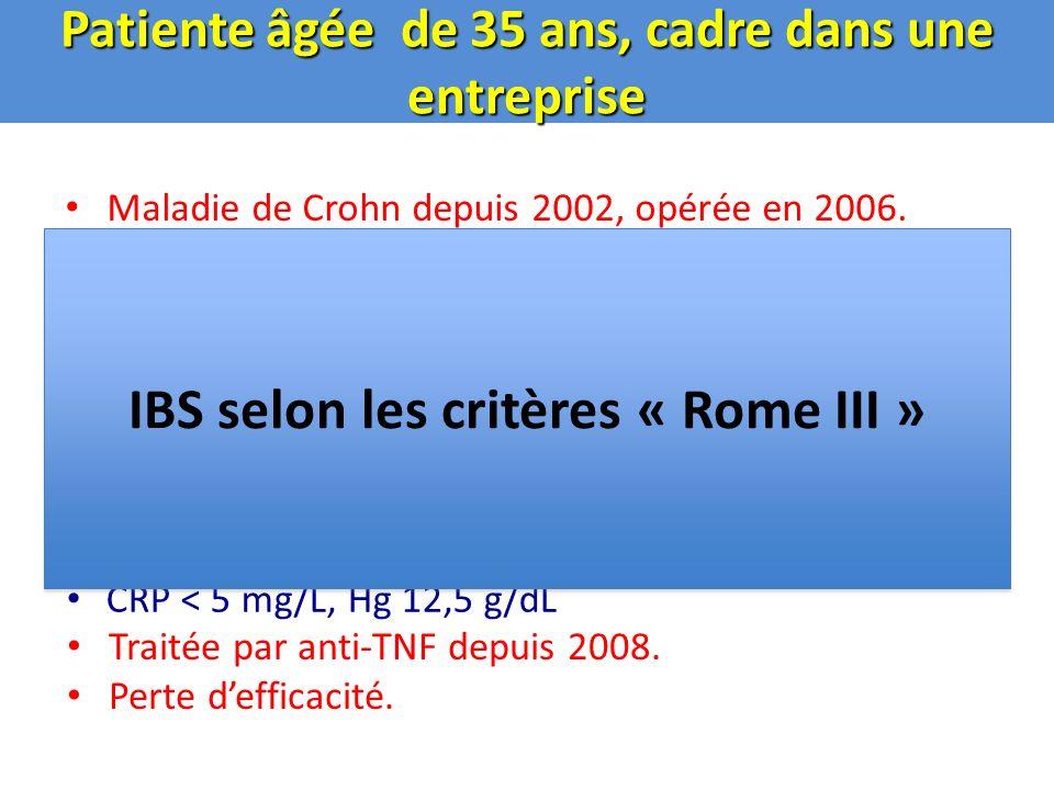 Clinical Disease Activity Index Selles molles (3/j)21 x 2 = 42 Douleurs (intenses)21 x 5 = 110 Bien être général (moyen)7 x 7 = 49 Autres éléments0 x 20 = 0 Anti-diarrhéique0 x 30 = 0 Masse abdo.0 x 10= 0 Hématocrite1 x 6 = 6 Poids 58,6 – 52 x 100= 11 Total= 218 58,6 1.Augmentation des anti-TNF 2.Changement danti-TNF 3.Reprise des corticoïdes 4.Anti-spasmodiques .