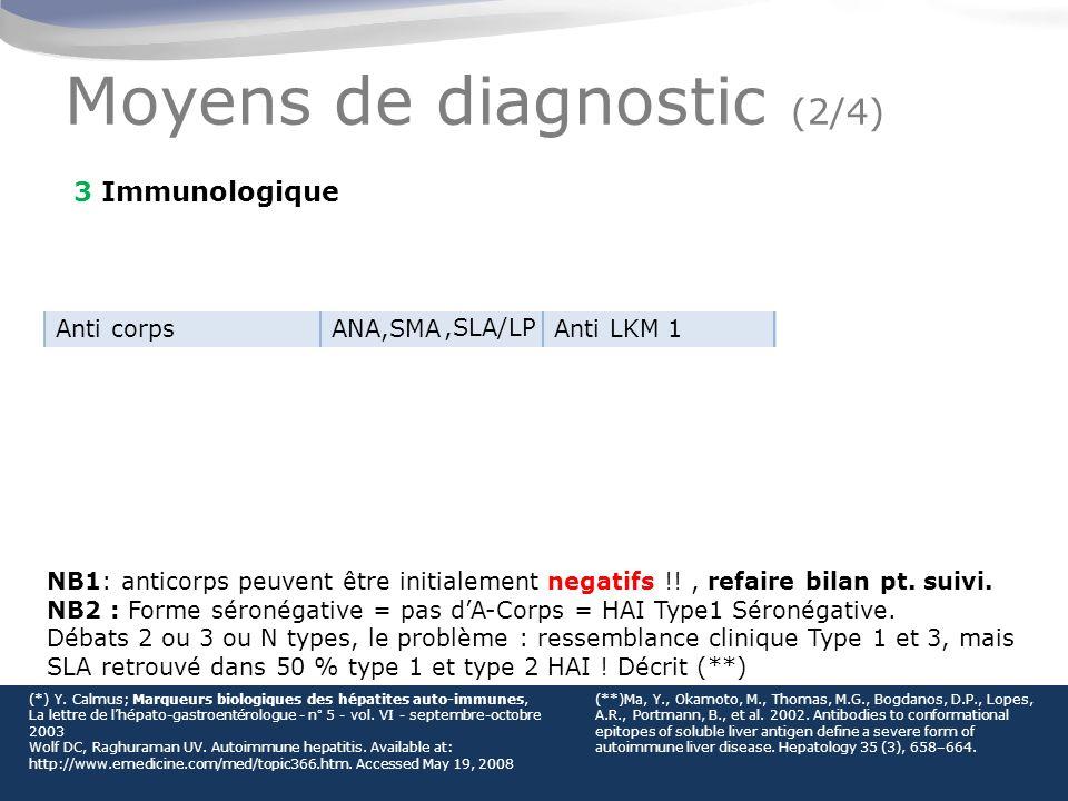 Moyens de diagnostic (2/4) 3 Immunologique TypeHAI type 1HAI type 2HAI type 3 Anti corpsANA,SMAAnti LKM 1SLA/ LP Début- age10+ (*adulte)2-1430-50 Femme %78 (*70)8990 Maladies A-i %4134 (*40)58 (50) Association HLAB8, DR3,DR4B14, DR3,C4AQO.