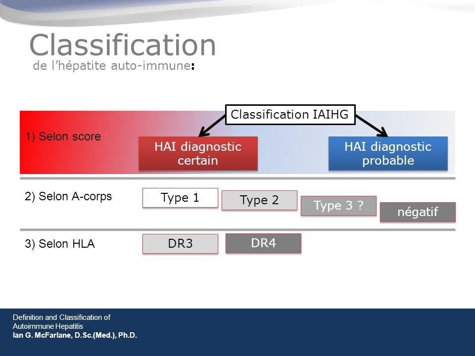 Classification de lhépatite auto-immune: Classification IAIHG HAI diagnostic certain HAI diagnostic probable Definition and Classification of Autoimmune Hepatitis Ian G.