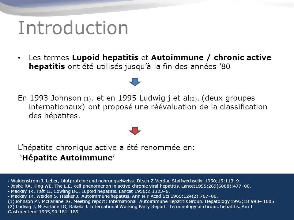 Introduction Les termes Lupoid hepatitis et Autoimmune / chronic active hepatitis ont été utilisés jusquà la fin des années 80 En 1993 Johnson (1).