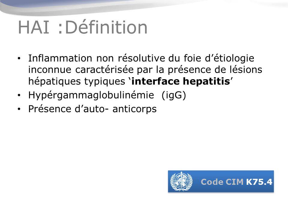 AIH = maladie du foie a progression rapide vers la cirrhose sans traitement (1) : 1.Le diagnostic dHAI nest pas toujours facile (absence de signe pathognomonique ) 2.Il existe des débats concernant la classification.