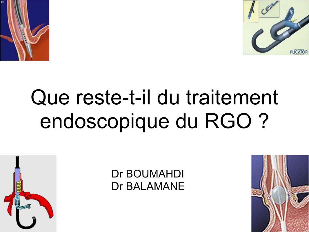 3 Catégories de traitement 1.Traitement médical IPP (Référence) 2.Traitement chirurgical Fundoplicature laparoscopique de Nissen 3.Traitement endoscopique mal codifié