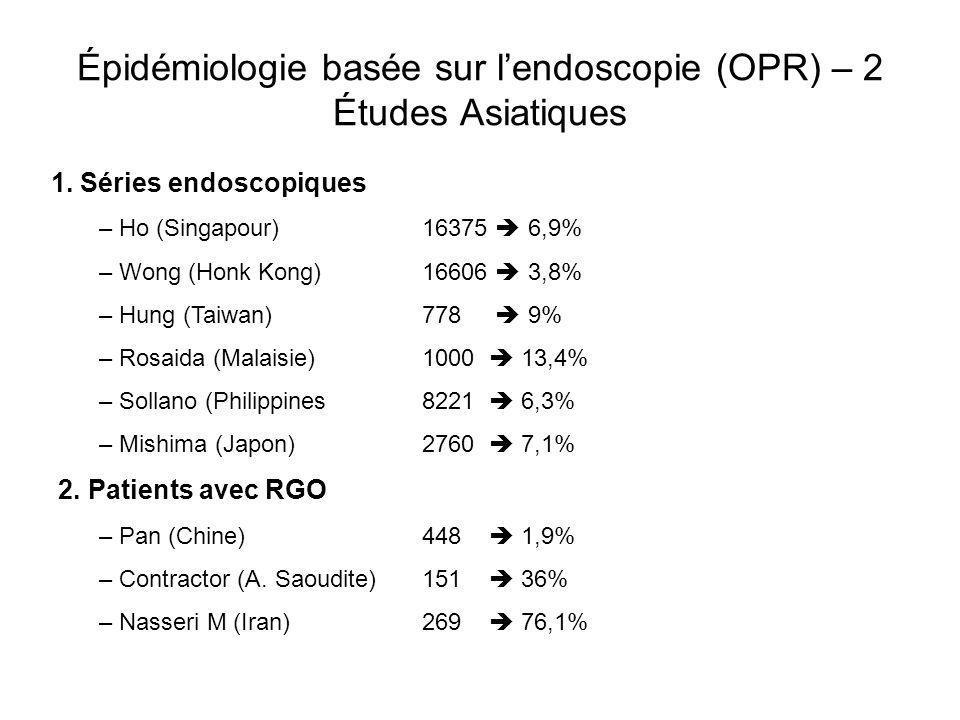 Épidémiologie basée sur lendoscopie (OPR) – 2 Études Asiatiques 1. Séries endoscopiques – Ho (Singapour) – Wong (Honk Kong) – Hung (Taiwan) – Rosaida