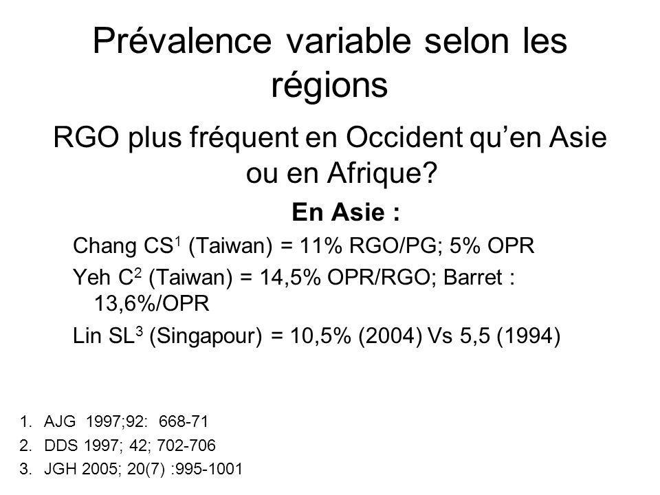 Prévalence variable selon les régions RGO plus fréquent en Occident quen Asie ou en Afrique? En Asie : Chang CS 1 (Taiwan) = 11% RGO/PG; 5% OPR Yeh C
