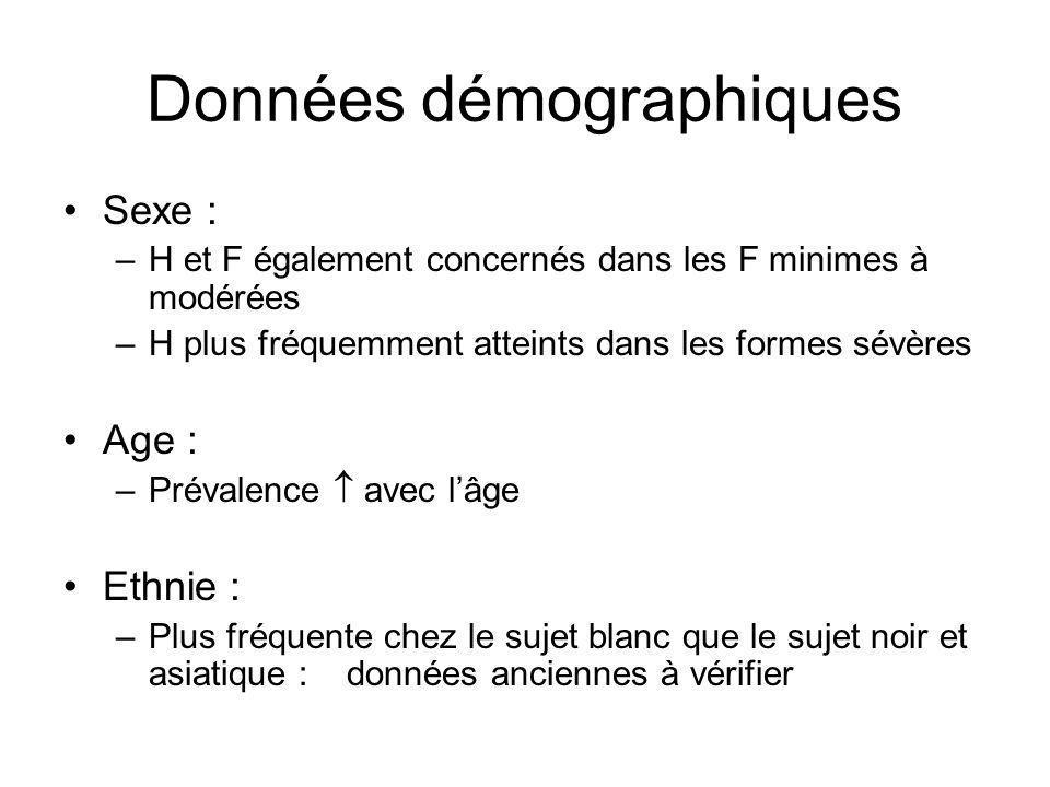 Données démographiques Sexe : –H et F également concernés dans les F minimes à modérées –H plus fréquemment atteints dans les formes sévères Age : –Pr