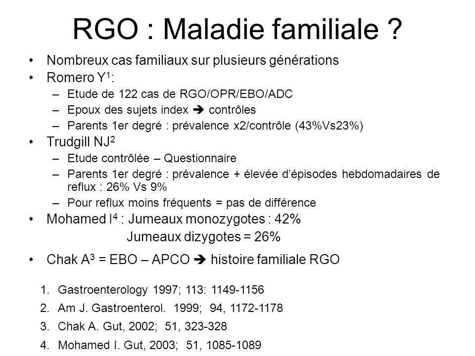 RGO : Maladie familiale ? Nombreux cas familiaux sur plusieurs générations Romero Y 1 : –Etude de 122 cas de RGO/OPR/EBO/ADC –Epoux des sujets index c
