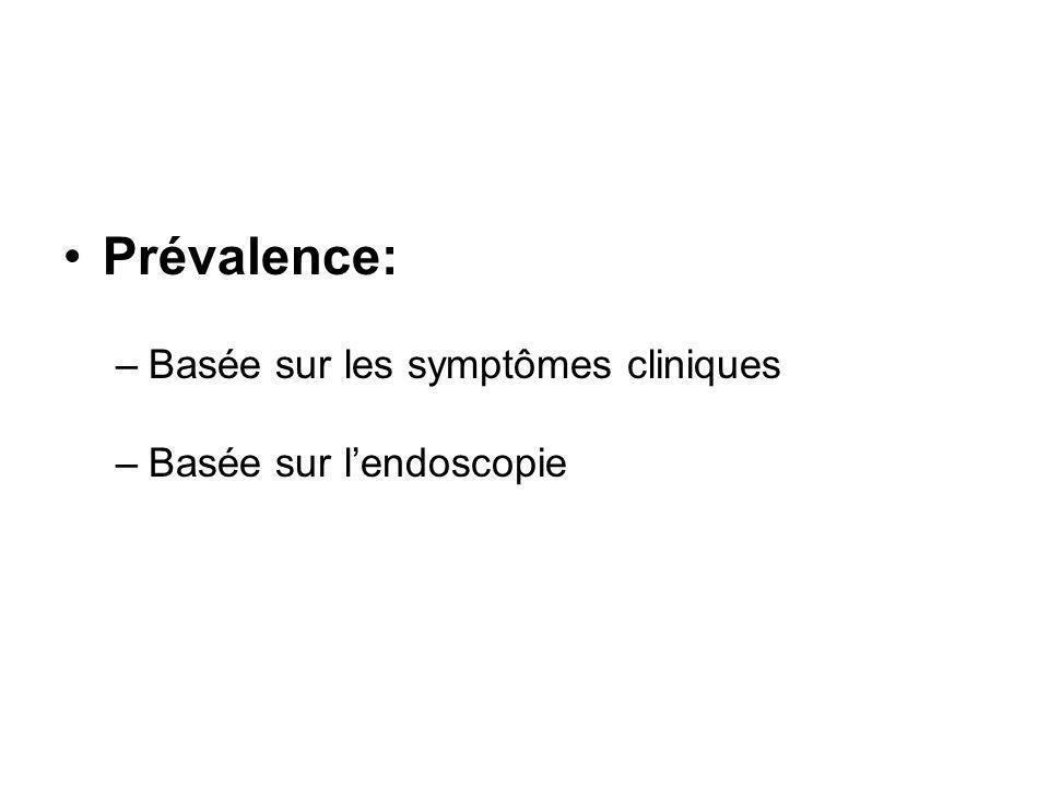 Prévalence: –Basée sur les symptômes cliniques –Basée sur lendoscopie