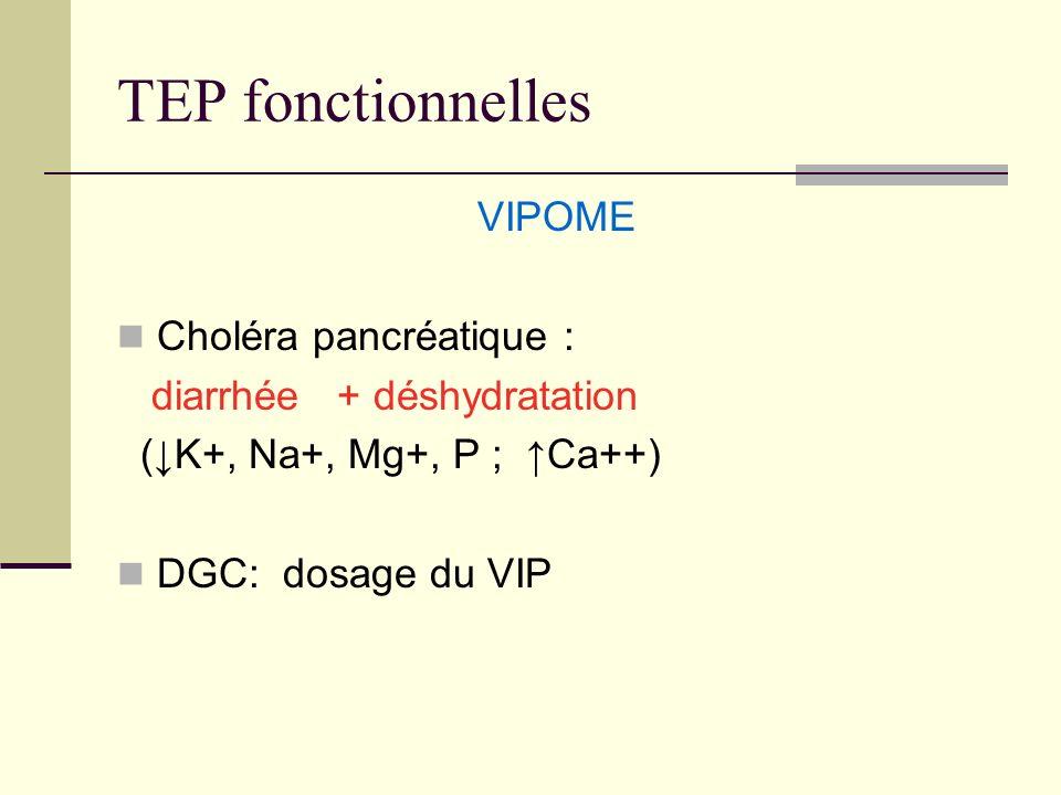 TEP fonctionnelles VIPOME Choléra pancréatique : diarrhée + déshydratation (K+, Na+, Mg+, P ; Ca++) DGC: dosage du VIP