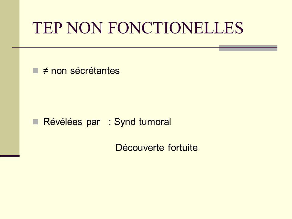 TEP NON FONCTIONELLES non sécrétantes Révélées par : Synd tumoral Découverte fortuite