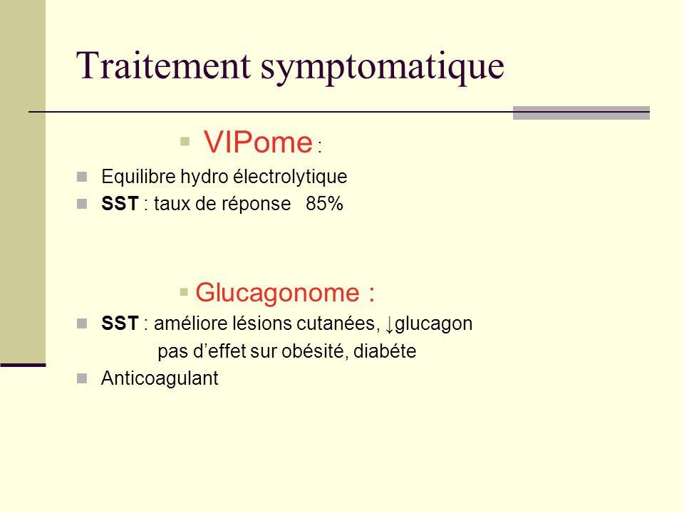 Traitement symptomatique VIPome : Equilibre hydro électrolytique SST : taux de réponse 85% Glucagonome : SST : améliore lésions cutanées, glucagon pas deffet sur obésité, diabéte Anticoagulant