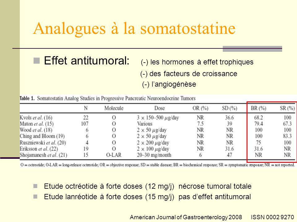 Analogues à la somatostatine Effet antitumoral: (-) les hormones à effet trophiques (-) des facteurs de croissance (-) langiogénèse Etude octréotide à forte doses (12 mg/j) nécrose tumoral totale Etude lanréotide à forte doses (15 mg/j) pas deffet antitumoral American Journal of Gastroenterology 2008 ISSN 0002 9270
