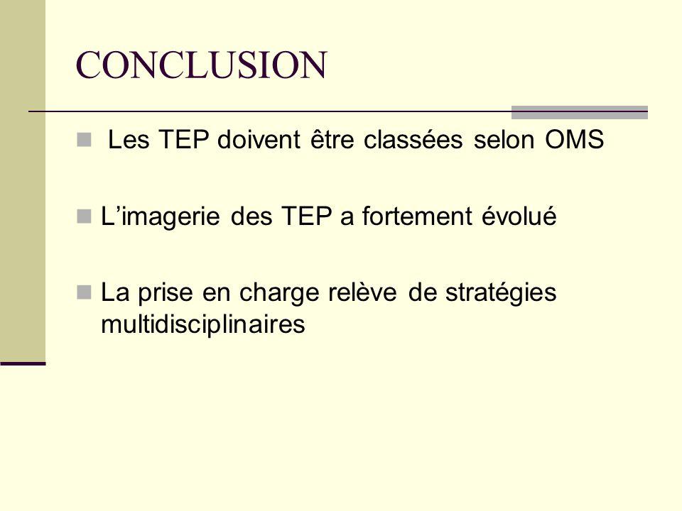 CONCLUSION Les TEP doivent être classées selon OMS Limagerie des TEP a fortement évolué La prise en charge relève de stratégies multidisciplinaires
