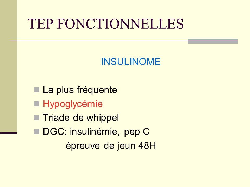TEP FONCTIONNELLES INSULINOME La plus fréquente Hypoglycémie Triade de whippel DGC: insulinémie, pep C épreuve de jeun 48H