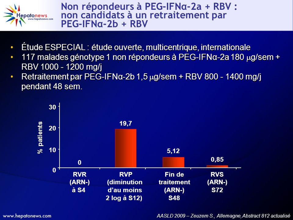 Non répondeurs à PEG-IFNα-2a + RBV : non candidats à un retraitement par PEG-IFNα-2b + RBV Étude ESPECIAL : étude ouverte, multicentrique, internation