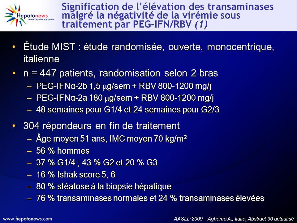 Signification de lélévation des transaminases malgré la négativité de la virémie sous traitement par PEG-IFN/RBV (1) Étude MIST : étude randomisée, ou