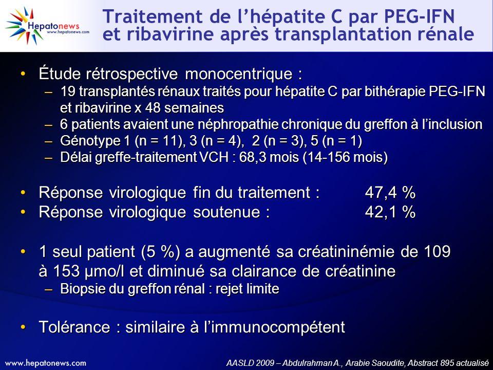 Étude rétrospective monocentrique : –19 transplantés rénaux traités pour hépatite C par bithérapie PEG-IFN et ribavirine x 48 semaines –6 patients ava
