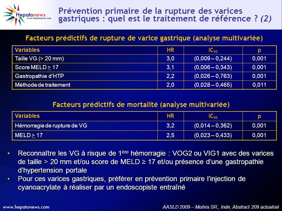 Prévention primaire de la rupture des varices gastriques : quel est le traitement de référence ? (2) Reconnaître les VG à risque de 1 ère hémorragie :