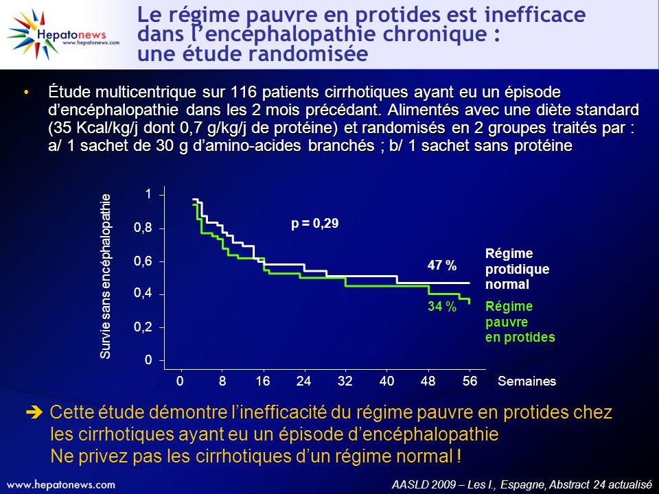 Le régime pauvre en protides est inefficace dans lencéphalopathie chronique : une étude randomisée Étude multicentrique sur 116 patients cirrhotiques