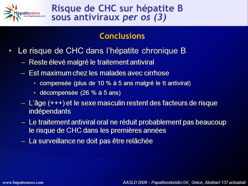 Risque de CHC sur hépatite B sous antiviraux per os (3) Le risque de CHC dans lhépatite chronique B –Reste élevé malgré le traitement antiviral –Est m