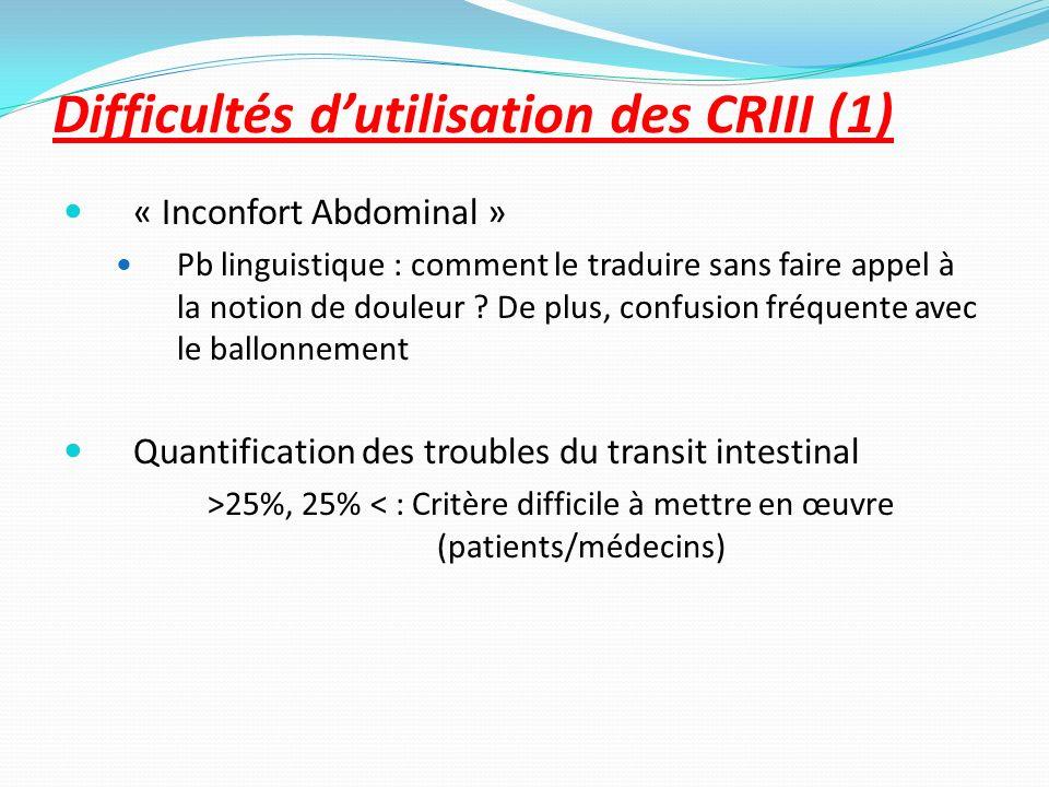 Difficultés dutilisation des CRIII (1) « Inconfort Abdominal » Pb linguistique : comment le traduire sans faire appel à la notion de douleur ? De plus