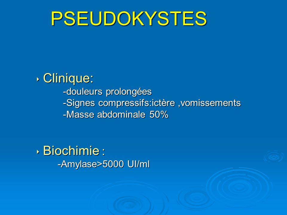 Clinique: Clinique: -douleurs prolongées -douleurs prolongées -Signes compressifs:ictère,vomissements -Signes compressifs:ictère,vomissements -Masse a