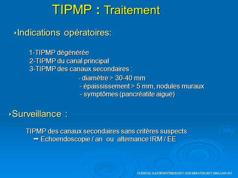 Indications opératoires: Indications opératoires: 1-TIPMP dégénérée 1-TIPMP dégénérée 2-TIPMP du canal principal 2-TIPMP du canal principal 3-TIPMP de