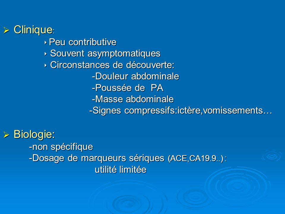 Clinique : Clinique : Peu contributive Peu contributive Souvent asymptomatiques Souvent asymptomatiques Circonstances de découverte: Circonstances de