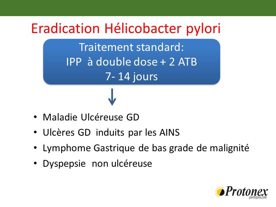 Eradication Hélicobacter pylori Maladie Ulcéreuse GD Ulcères GD induits par les AINS Lymphome Gastrique de bas grade de malignité Dyspepsie non ulcére