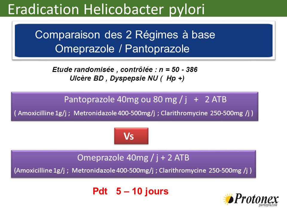 Eradication Helicobacter pylori Pantoprazole 40mg ou 80 mg / j + 2 ATB ( Amoxicilline 1g/j ; Metronidazole 400-500mg/j ; Clarithromycine 250-500mg /j