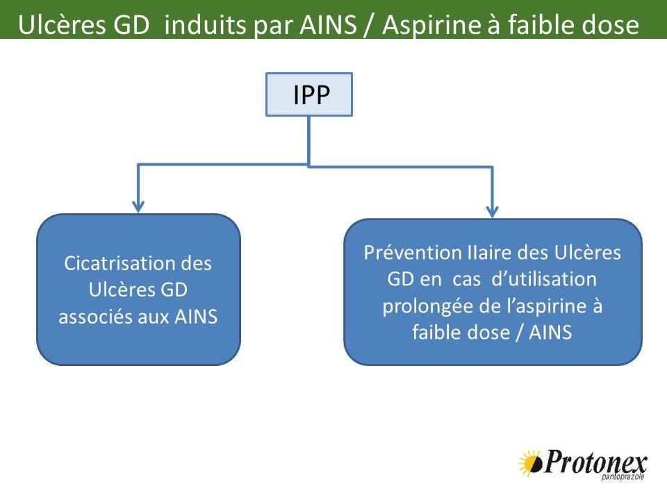 Cicatrisation des Ulcères GD associés aux AINS Prévention IIaire des Ulcères GD en cas dutilisation prolongée de laspirine à faible dose / AINS IPP Ul