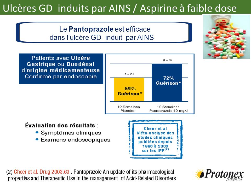 Le Pantoprazole est efficace dans lulcère GD induit par AINS Ulcères GD induits par AINS / Aspirine à faible dose