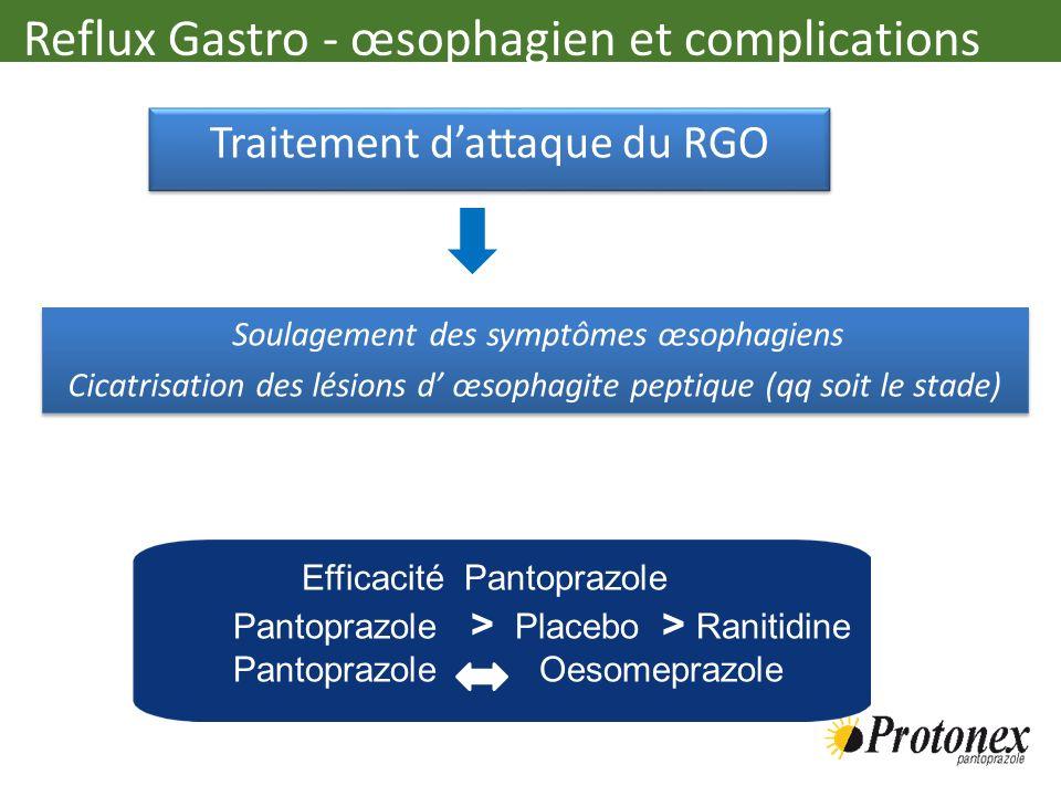 Traitement dattaque du RGO Traitement dattaque du RGO Soulagement des symptômes œsophagiens Cicatrisation des lésions d œsophagite peptique (qq soit l