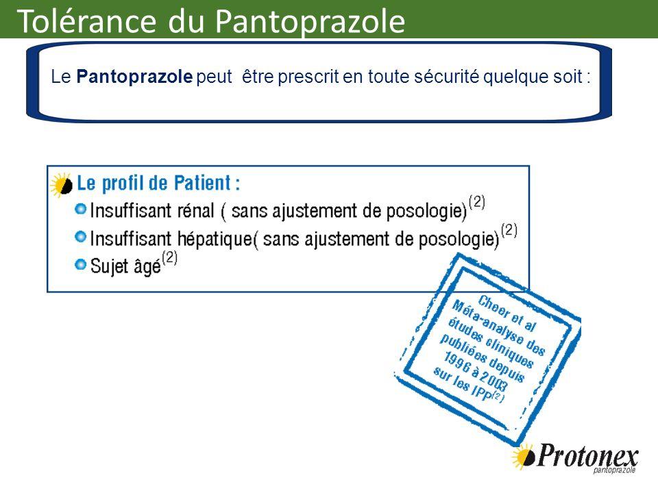 Tolérance du Pantoprazole Le Pantoprazole peut être prescrit en toute sécurité quelque soit :