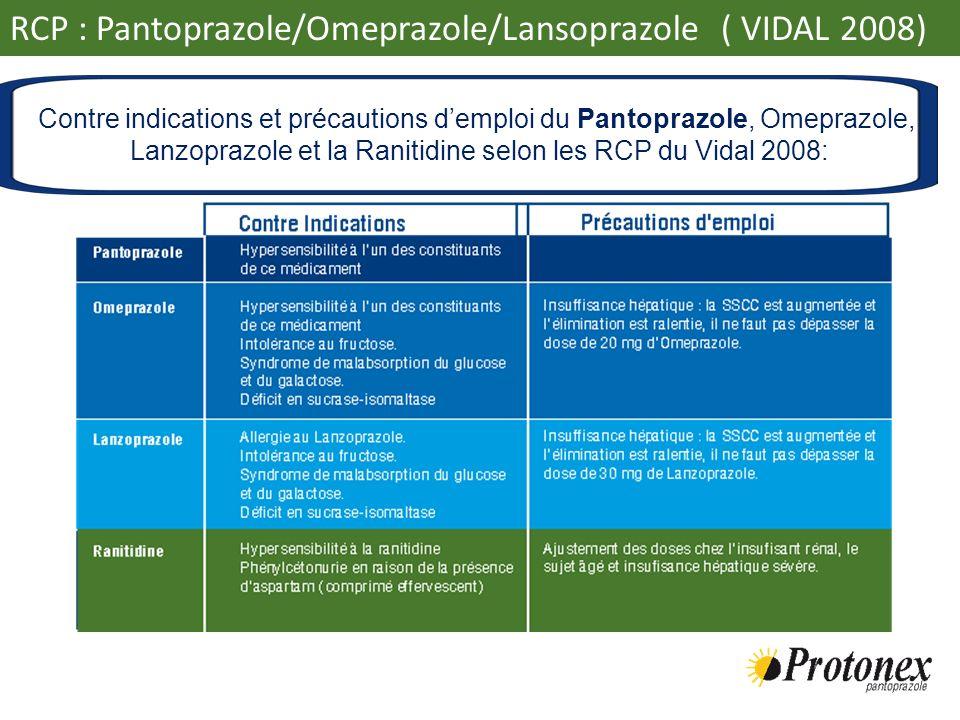 RCP : Pantoprazole/Omeprazole/Lansoprazole ( VIDAL 2008) Contre indications et précautions demploi du Pantoprazole, Omeprazole, Lanzoprazole et la Ran