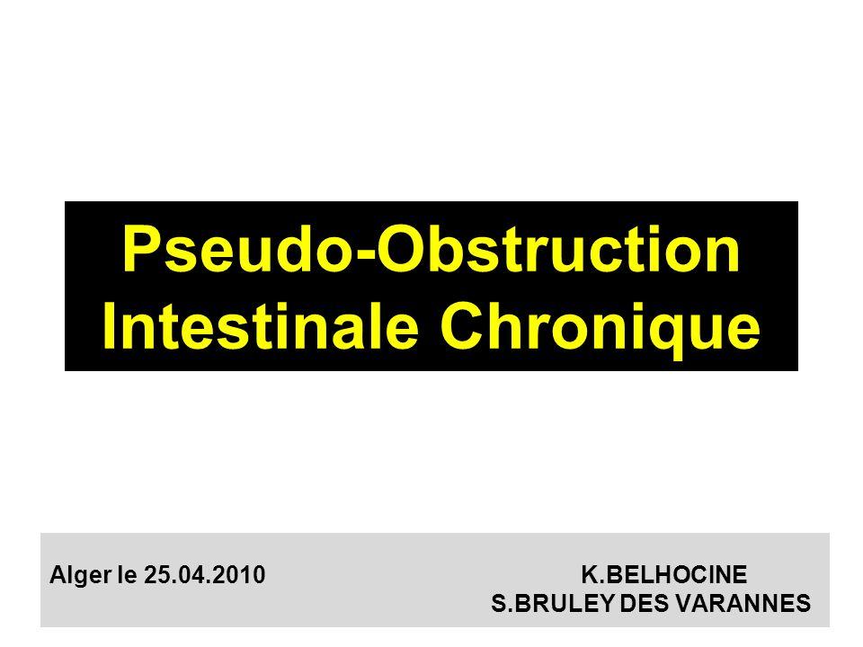 Définition Syndrome clinique évoquant une obstruction mécanique de lintestin grêle, mais pour laquelle aucun obstacle nest mis en évidence Affection rare + grave 8-10% des insuffisances intestinales chroniques Schuffler et al.