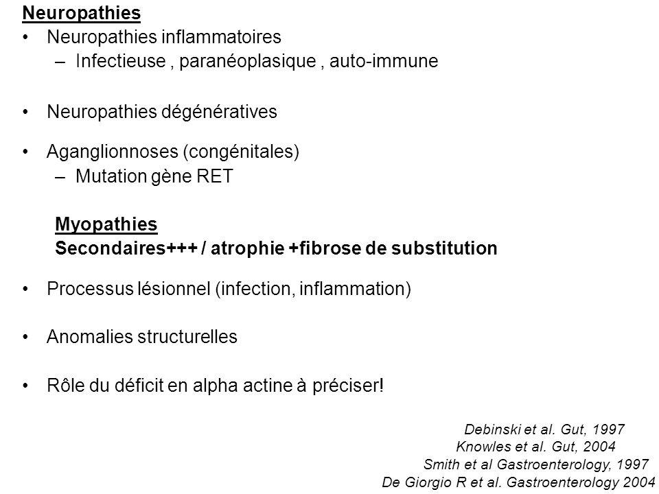 Neuropathies Neuropathies inflammatoires –Infectieuse, paranéoplasique, auto-immune Neuropathies dégénératives Aganglionnoses (congénitales) –Mutation