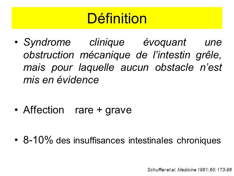 Définition Syndrome clinique évoquant une obstruction mécanique de lintestin grêle, mais pour laquelle aucun obstacle nest mis en évidence Affection r