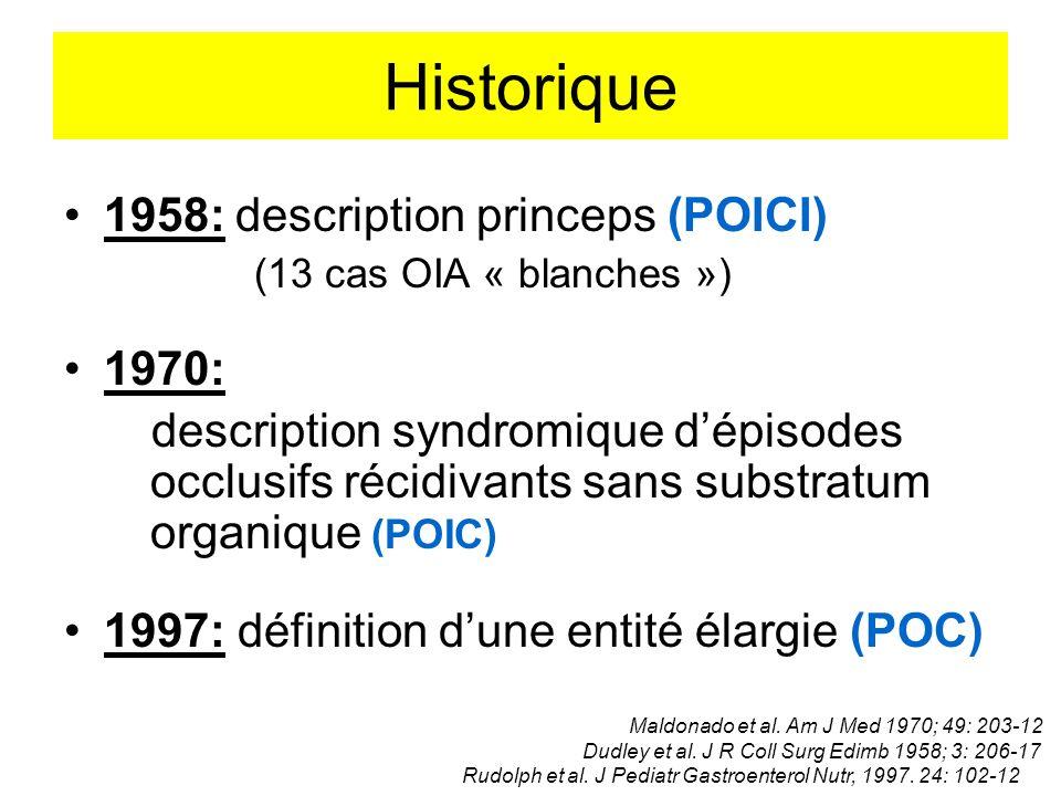 Historique 1958: description princeps (POICI) (13 cas OIA « blanches ») 1970: description syndromique dépisodes occlusifs récidivants sans substratum