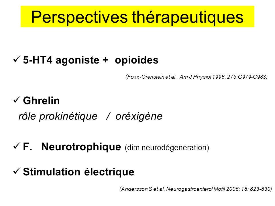 Perspectives thérapeutiques 5-HT4 agoniste + opioides ( Foxx-Orenstein et al. Am J Physiol 1998, 275:G979-G983) Ghrelin rôle prokinétique / oréxigène