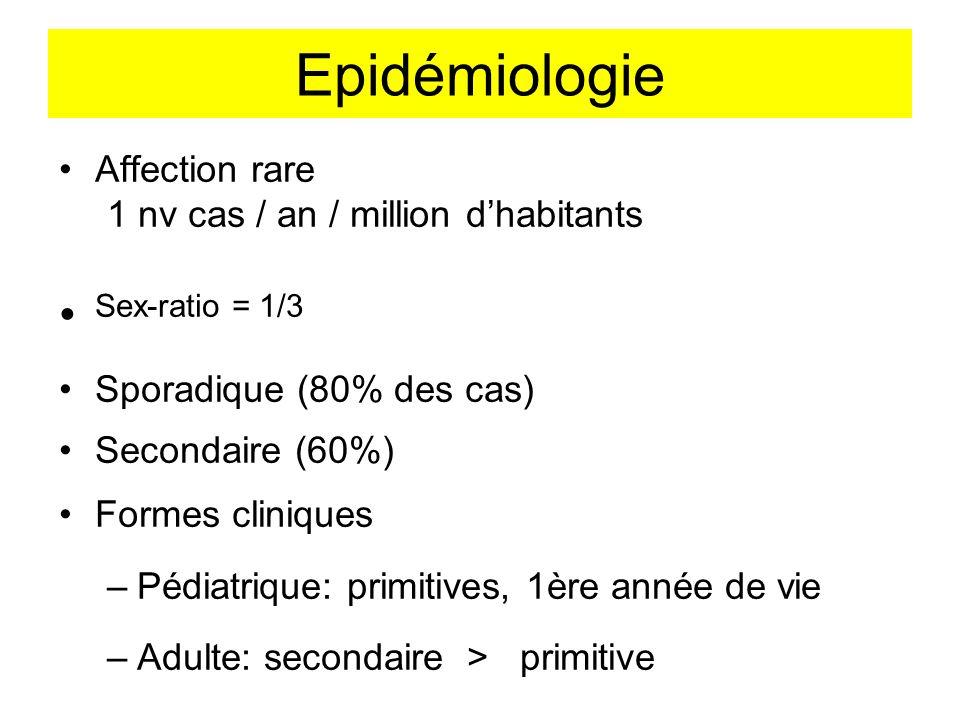 Epidémiologie Affection rare 1 nv cas / an / million dhabitants Sex-ratio = 1/3 Sporadique (80% des cas) Secondaire (60%) Formes cliniques –Pédiatriqu