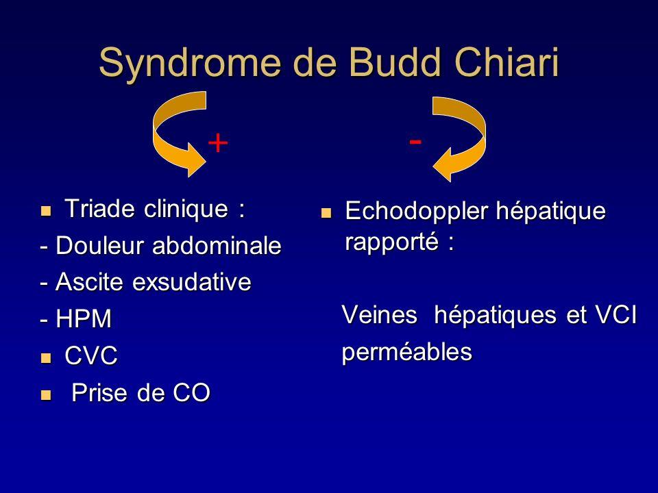 Syndrome de Budd Chiari Triade clinique : Triade clinique : - Douleur abdominale - Ascite exsudative - HPM CVC CVC Prise de CO Prise de CO Echodoppler