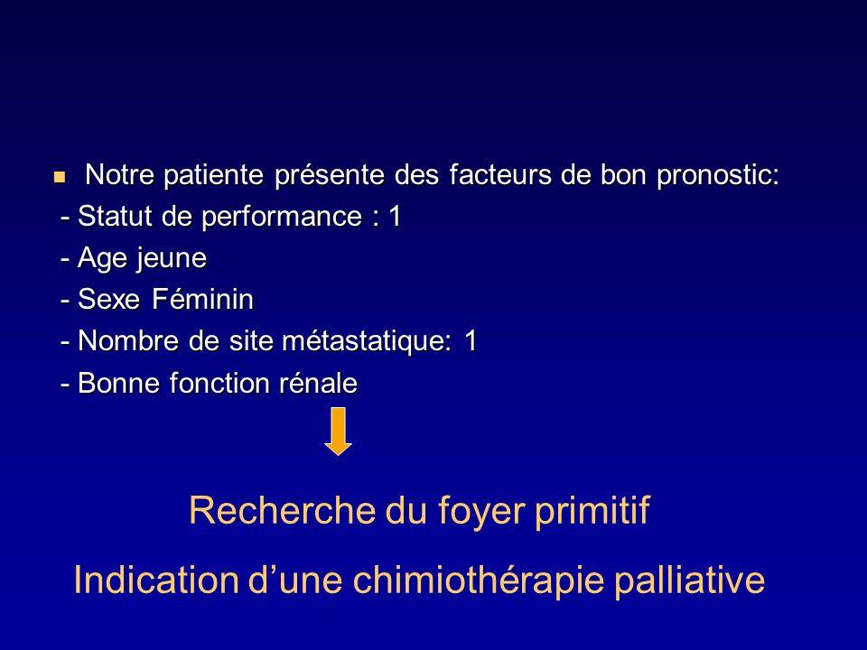 Notre patiente présente des facteurs de bon pronostic: Notre patiente présente des facteurs de bon pronostic: - Statut de performance : 1 - Statut de