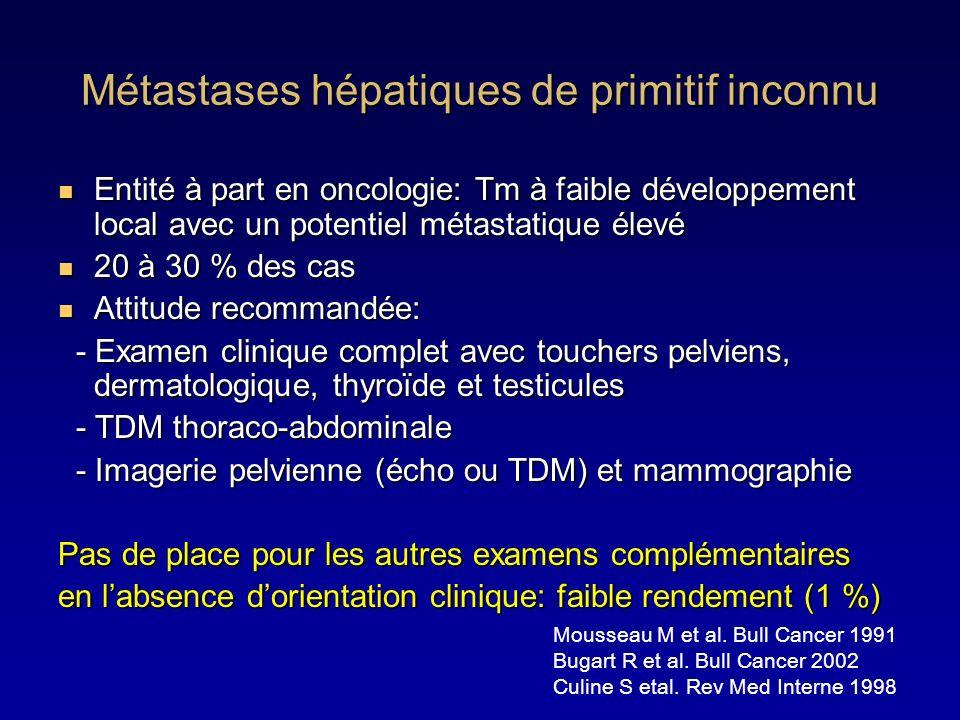 Métastases hépatiques de primitif inconnu Entité à part en oncologie: Tm à faible développement local avec un potentiel métastatique élevé Entité à pa