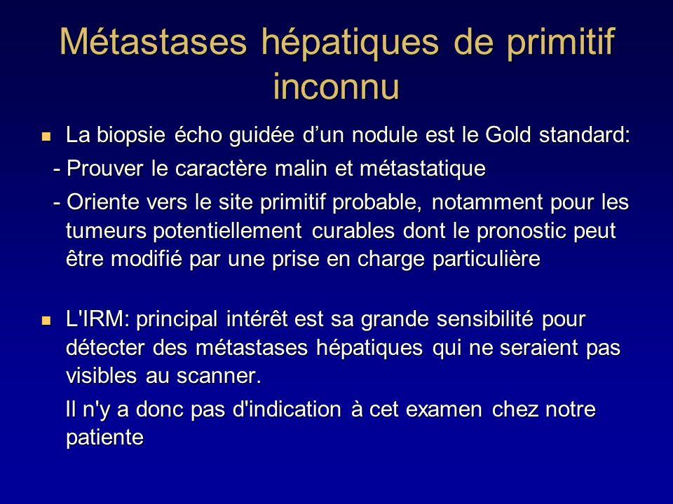 La biopsie écho guidée dun nodule est le Gold standard: La biopsie écho guidée dun nodule est le Gold standard: - Prouver le caractère malin et métast