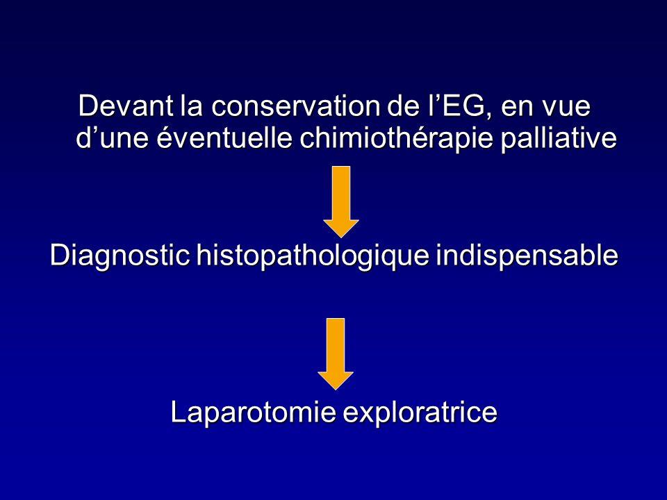Devant la conservation de lEG, en vue dune éventuelle chimiothérapie palliative Diagnostic histopathologique indispensable Laparotomie exploratrice