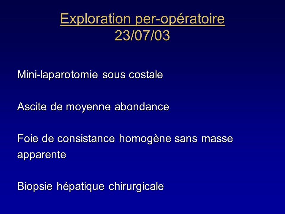 Exploration per-opératoire 23/07/03 Mini-laparotomie sous costale Ascite de moyenne abondance Foie de consistance homogène sans masse apparente Biopsi