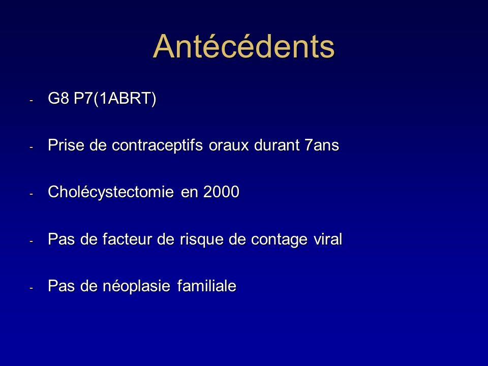 Antécédents - G8 P7(1ABRT) - Prise de contraceptifs oraux durant 7ans - Cholécystectomie en 2000 - Pas de facteur de risque de contage viral - Pas de