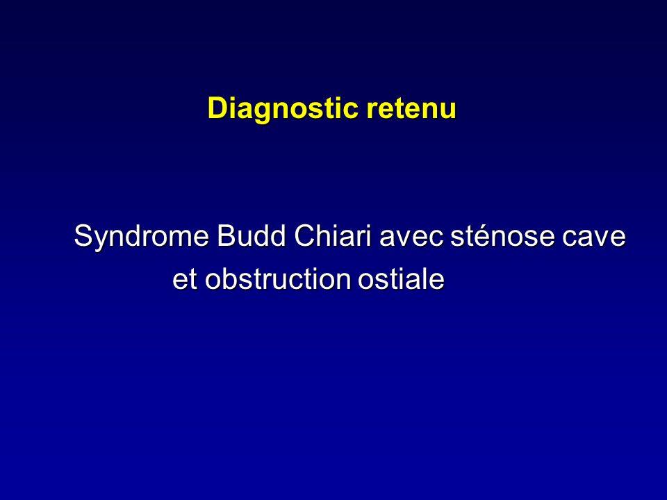 Diagnostic retenu Syndrome Budd Chiari avec sténose cave et obstruction ostiale et obstruction ostiale